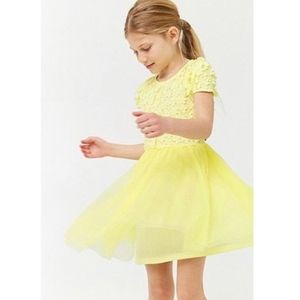 Forever 21 yellow tulle dress with flowers